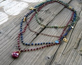 Multi Gemstone Layering Statement Necklace, Wire Wrapped Gemstone Necklace, Four Layers Ruby, Lapis, Jade, CZ, Gold Charms