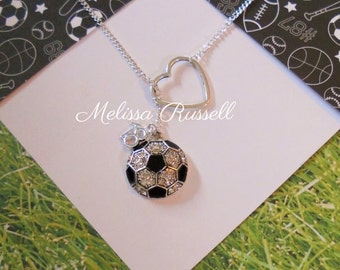 Soccer Lariat Necklace with Rhinestones and Heart and Number, World Cup, handmade jewelry, birthday, christmas, gifts for her, sale, mom