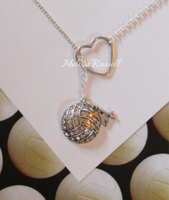 Volleyball / Water Polo  Necklace with Rhinestones, Heart and Number, handmade jewelry, mom, christmas, birthday present