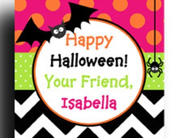 Personalized Halloween Treat Tags or Labels - ANY Wording - Bat Spider Favor Tags