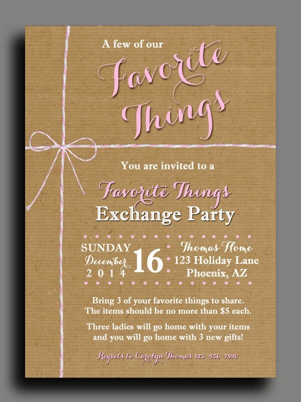 favorite things party invitation printable or printed with