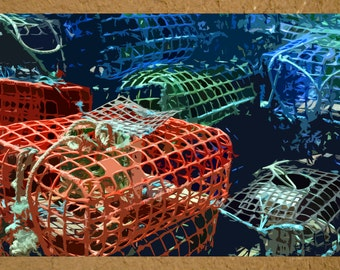 "Photo notecard of colorful crab traps in Portugal, 5.5""x4.25"", blank."