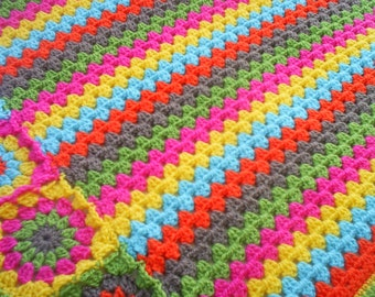 the granny stripes and squares colorful blanket