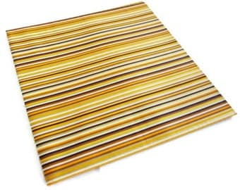 Vintage Wrapping Paper - Lush Brown Stripe  - One Sheet Striped Gift Wrap with Gold Leaf Accents