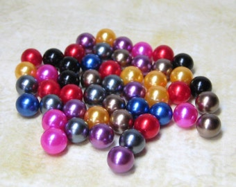 jewel tone imitation pearls 6mm no hole plastic balls mixed colors 50pcs for cell phone deco kawaii decoden projects craft jewelry supplies