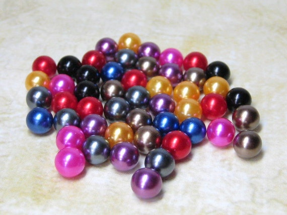 jewel tone imitation pearls 6mm no hole plastic balls mixed