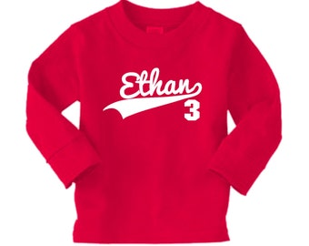 Sports Jersey Swoosh Birthday Shirt - Personalized long sleeve shirt - any age and name - pick your colors!