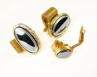 Vintage Hematite Cufflink and Tie Tack Set / Vintage Wedding Cufflink Set.