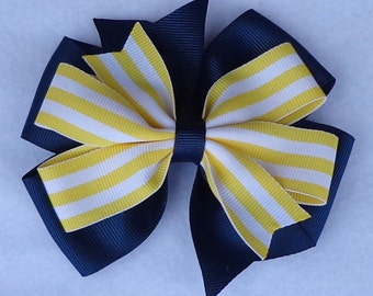 Basic Boutique Hair Bow, Large Boutique Hair Bow, Yellow Striped Hair Bow, Simple Hair Bow, Striped Hair Bow, Boutique Hair Bow, Hair Bow