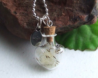 Dandelion Pendant Necklace, WISHES, Terrarium, 18 Inch Silver Ball Chain Necklace, Birthday Present, Gift for Her