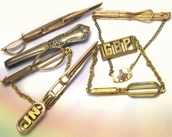 Old Antique Vintage Mens Tie Tacks Antique tie tack lot Father's Day gift old tie bars SWANK vtg tie bars mens jewelry lot