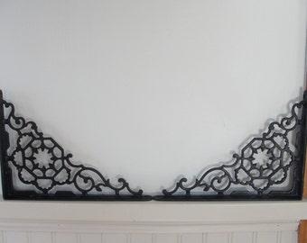 1880's Hex Spider Web cast iron Victorian wall brackets