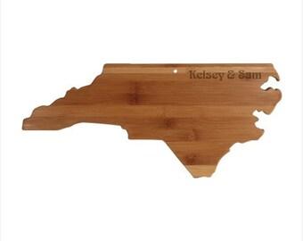 Engraved North Carolina Cutting Board - North Carolina Shaped Bamboo Board Custom Engraved - Wedding Gift, Couples Gift, Housewarming Gift