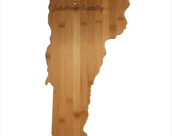 Personalized Vermont Cutting Board - Vermont Shaped Bamboo Cutting Board Custom Engraved - Wedding Gift, Couples Gift, Housewarming Gift