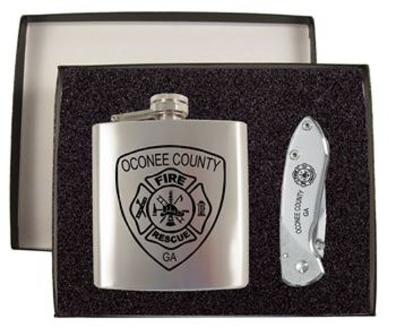 Engraved Flask Amp Buck Nobleman Knife Gift Set Groomsman Gift