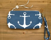 Blue and White Anchor Wristlet Clutch MADE TO ORDER