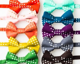 Little Boy Bowties - Diagonal Dots - Red, Pink, Coral, Mustard, Green, Mint, Blue, Purple, Gray, or Brown
