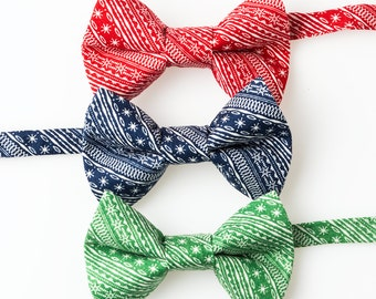 Toddler Bow Ties - Red, Blue, or Green Diagonal Stripes - Boys Bowties