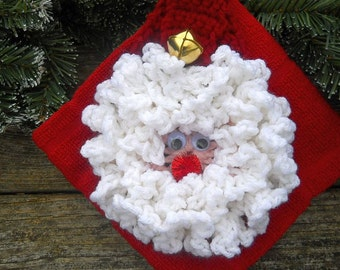 New!! Santa Towel Holder, Crochet Towel, Towel Topper, Great Gift Idea, Kitchen and Bath Towel, Christmas, Thanksgiving, Crochet, Red Towel,