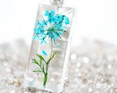Turquoise Blue Lace flower resin pendant - clear resin, white gold plated silver necklace, gift idea under 30