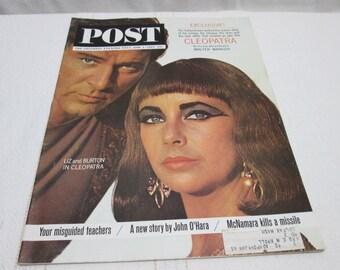 Post Magazine June 1963 Cleopatra, Liz Taylor, Richard Burton, Chevy Impala, Budweiser Beer, Coke,  vintage ads