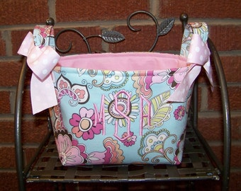 Fabric Easter Basket – Light Blue and Pink Floral - Personalization Included - Great Storage Bin