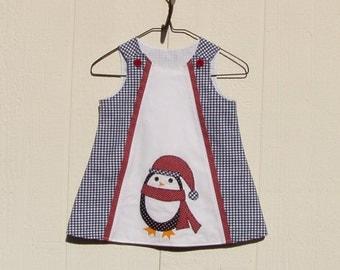 Navy Blue Gingham A Line Dress with Penguin Applique Size 12 Months