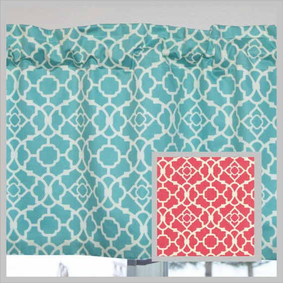 kitchen curtain valance aqua blue or coral lovely