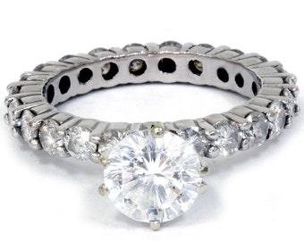 Diamond Eternity Engagement Ring 3.50Ct Diamond Eternity Engagement Ring 14K White Gold (Clarity Enhanced)