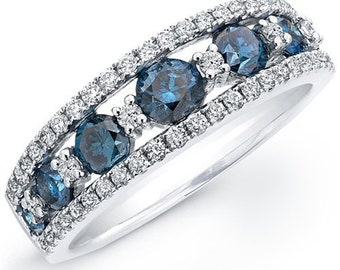 blue diamond wedding ring diamond wedding ring stackable blue diamond ring 185ct - Blue Diamond Wedding Rings