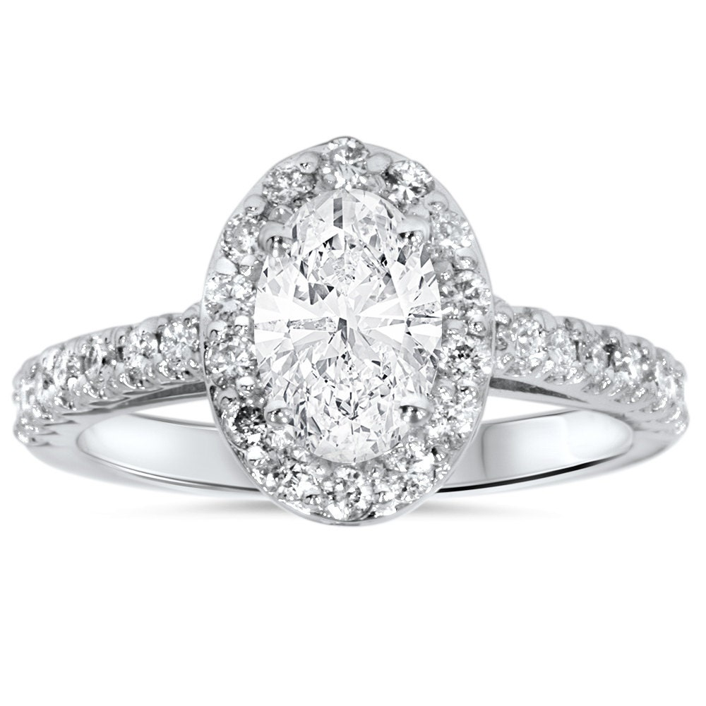 Carat Oval Diamond Halo Engagement Ring 1 50 Carat Oval