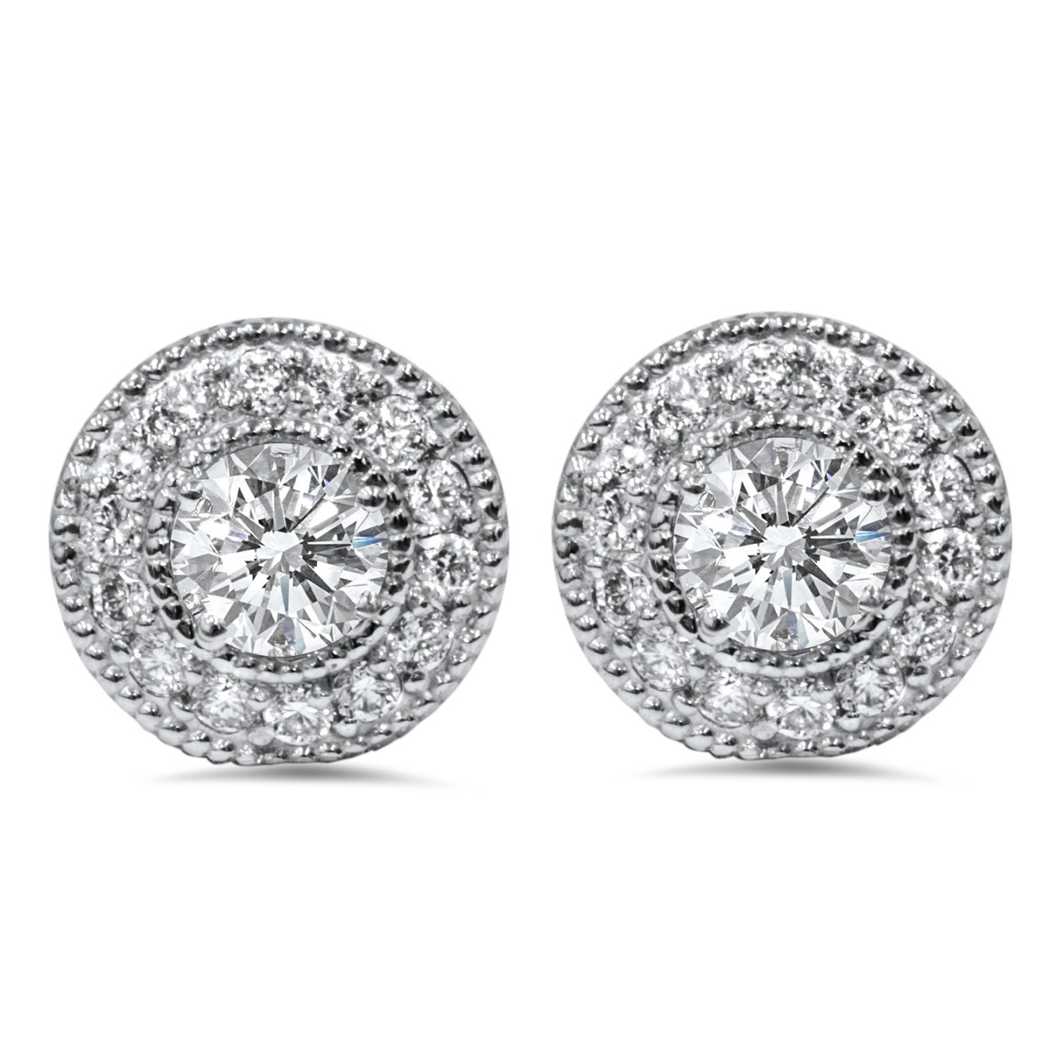 1 50 Carat Diamond Studs Earring Jackets Halo Vintage Antique