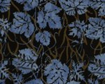 Blue Espresso Leaves Batik Fabric, 100 Percent Cotton, by Island Batik, Fabric by the Yard