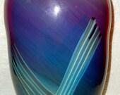Huge Peter Gudrunas Art Glass Vase Pontil Ground Base Purple Hues