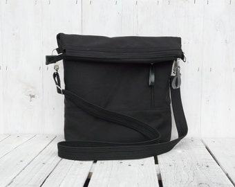 Solid Black Canvas Tote Bag, Backpack Option, Messenger Cross Body zipper bag, Minimalist Vegan Black Shoulder Bag, Husband Laptop Carrier