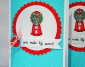Valentine's Day Card, Anniversary Card, I Love You Card, Kids Valentine Cards, Child Valentine Card, Gumballs
