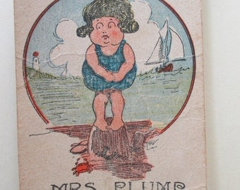 Antique Playing Card - Old Maid, Mrs. Plump, children, game, chubby girl