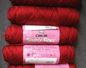 Destash Yarn - Caron Simply Soft Autumn Red, 5 skeins