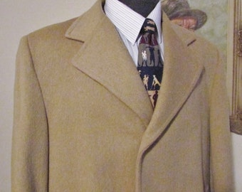 Vintage CROYDEN Mens 3/4 Length Wool Coat, Winter Coat, Overcoat, Size 42 Regular, Made In Canada, Camel Colored Wool Blend, HIgh Quality