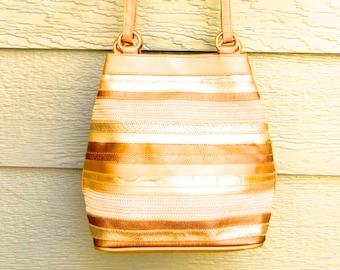 Vintage 80s 'Tianni' Stripe Patchwork Gold Faux Leather Shoulder Bag