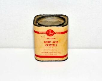 Vintage Can -- Boric Acid Crystals