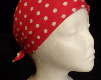 Pirate Bandanna, Large Red and White Bandana or Neckerchief for Cosplay Rockabilly Head Scarf w/Polka Dots, Rosie Bandana, Rosie the Riveter