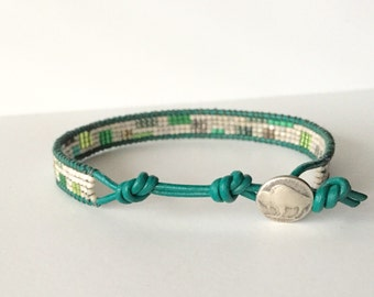 Green Men's Bracelet with Geometric Pattern