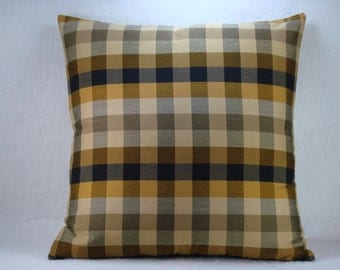 Black and Gold Check Decorative Accent Pillow 20x20 Pillow