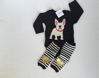 French Bulldog Baby Bodysuit with Heart Baby Leg Warmers