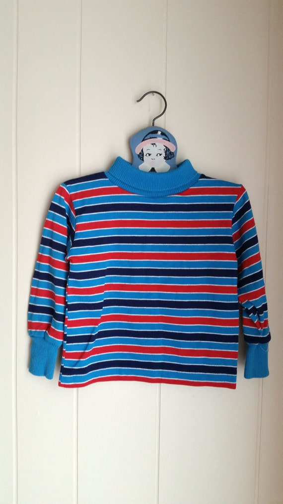 Vintage red and blue striped turtleneck shirt health tex for Red blue striped shirt