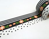 Cherry Blossom, Black and White Stripe, Black and White  Polka Dot Washi Tape (Choose 1 Roll)