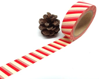 Vintage Style Candy Cane Washi Tape -Red Stripe Washi Tape - Washi Tape Sale