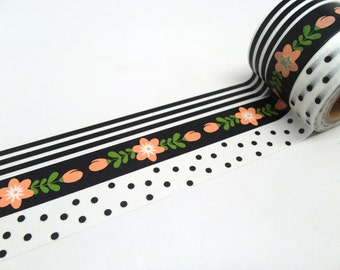Salmon Pink Cherry Blossom, Black and White Stripe, Black and White  Polka Dot Washi Tape Set of 3
