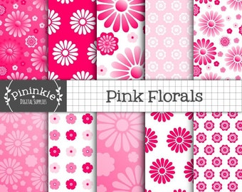 Pink Floral Digital Paper, Flower Scrapbooking Paper, Ombre Card Making Paper, Printable, Instant Download, Commercial Use
